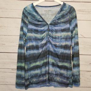 Nine West Watercolor Ruched Front Long Sleeve